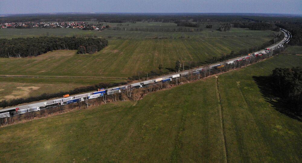 Korek z samochodów ciężarowych na granicy polsko-niemieckiej