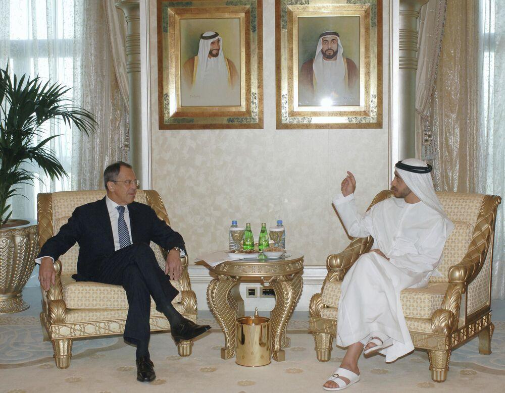 Siergiej Ławrow i minister spraw zagranicznych ZEA Abdullah bin Zayed Al Nahyan