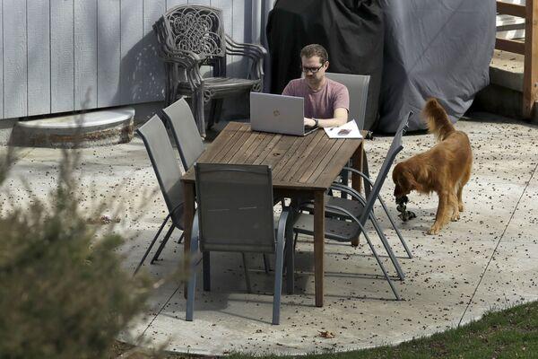 Erik Wray pracuje z domu w Overland Park, USA - Sputnik Polska