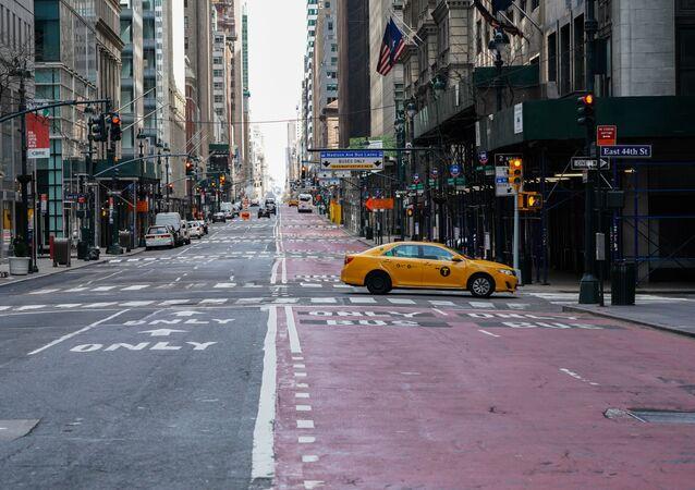 Taksówka na ulicy w Nowym Jorku
