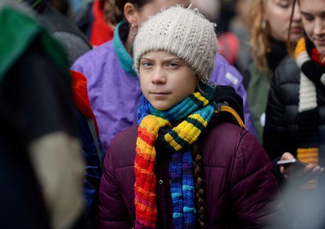 Szwedzka aktywistka Greta Thunberg w czasie podróży po Europie
