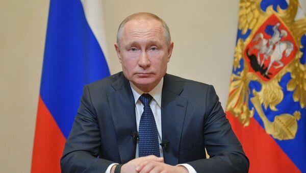 Prezydent Rosji Władimir Putin w czasie orędzie do obywateli w związku z sytuacją z koronawirusem - Sputnik Polska