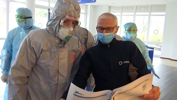 Rosyjscy specjaliści wojskowi odwiedzają placówkę medyczną w Bergamo - Sputnik Polska
