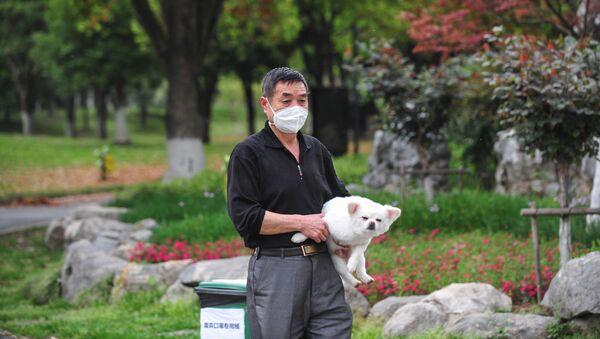 Mieszkaniec Wuhan w masce medycznej z psem w jednym z parków miejskich - Sputnik Polska