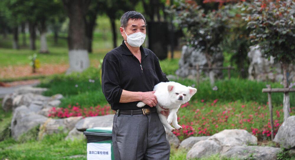 Mieszkaniec Wuhan w masce medycznej z psem w jednym z parków miejskich.