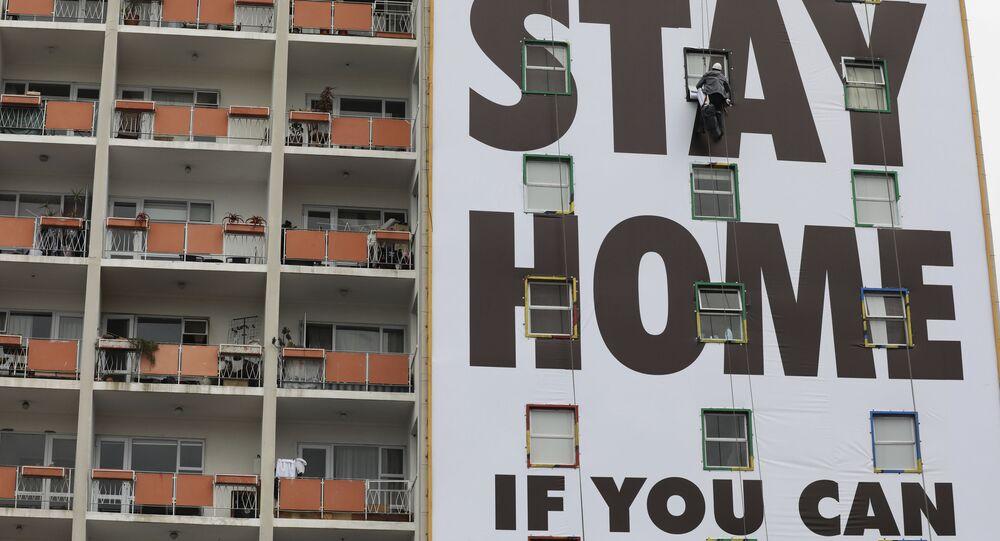 """Plakat """"Zostań w domu, jeśli możesz"""""""