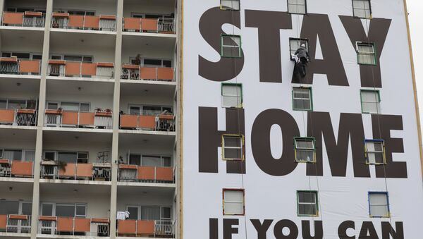 """Plakat """"Zostań w domu, jeśli możesz"""" - Sputnik Polska"""