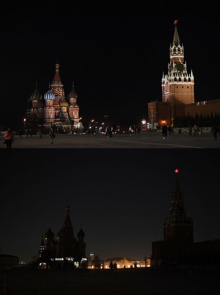 Plac Czerwony w Moskwie przed i po wyłączeniu oświetlenia w ramach akcji ekologicznej Godzina dla Ziemi.