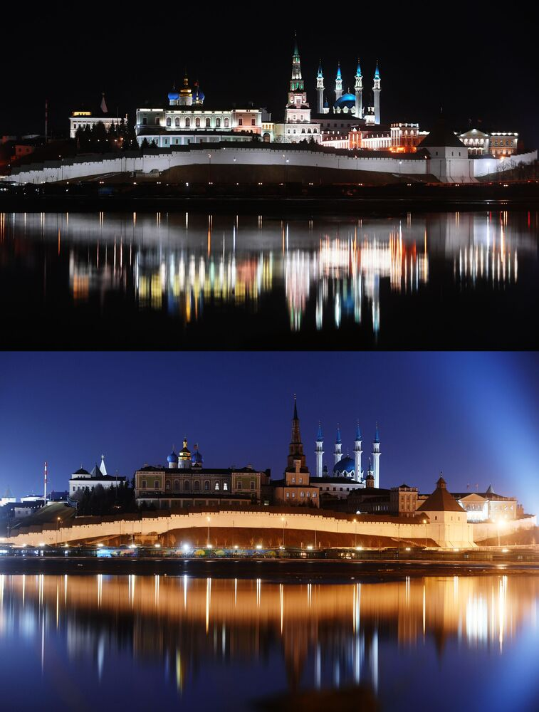 Kreml w Kazaniu przed i po wyłączeniu oświetlenia w ramach akcji ekologicznej Godzina dla Ziemi.