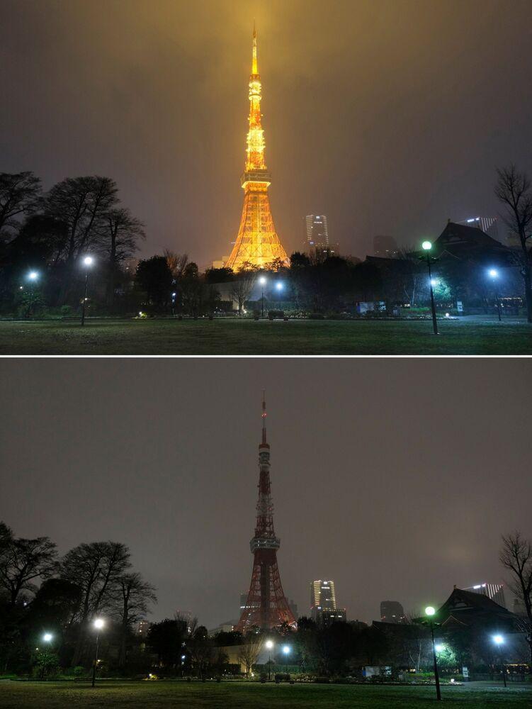 Tokyo Tower przed i po wyłączeniu oświetlenia w ramach akcji ekologicznej Godzina dla Ziemi.