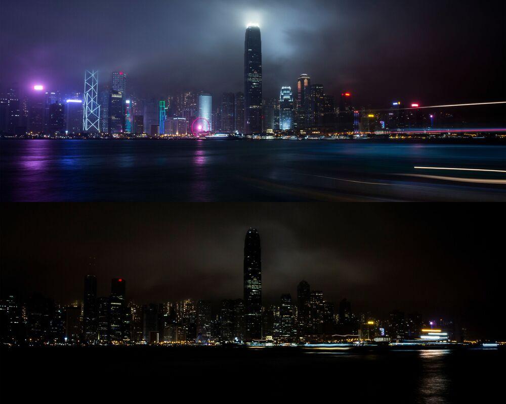 Hongkong przed i po wyłączeniu oświetlenia w ramach akcji ekologicznej Godzina dla Ziemi.