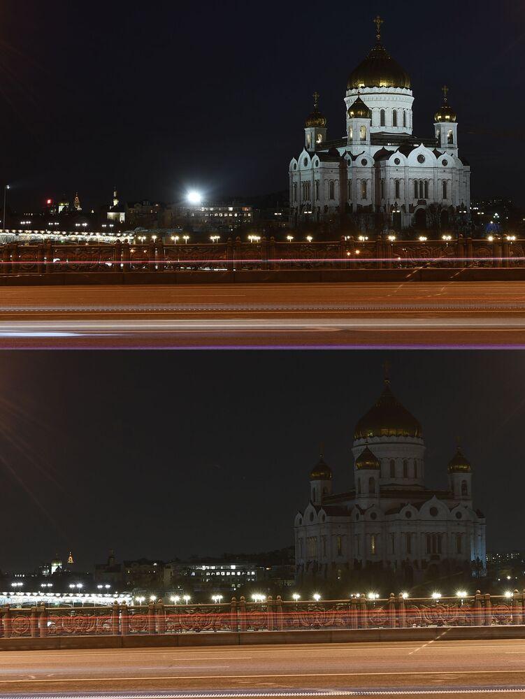 Sobór Chrystusa Zbawiciela w Moskwie przed i po wyłączeniu oświetlenia w ramach akcji ekologicznej Godzina dla Ziemi.