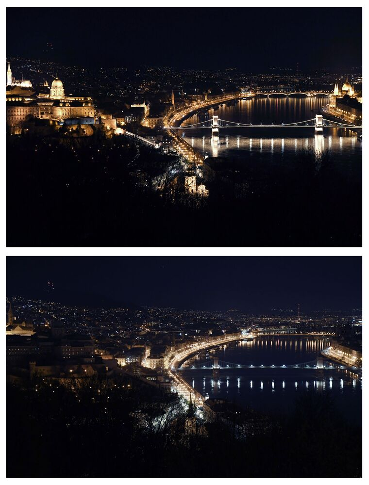 Most Łańcuchowy w Budapeszcie przed i po wyłączeniu oświetlenia w ramach akcji ekologicznej Godzina dla Ziemi.