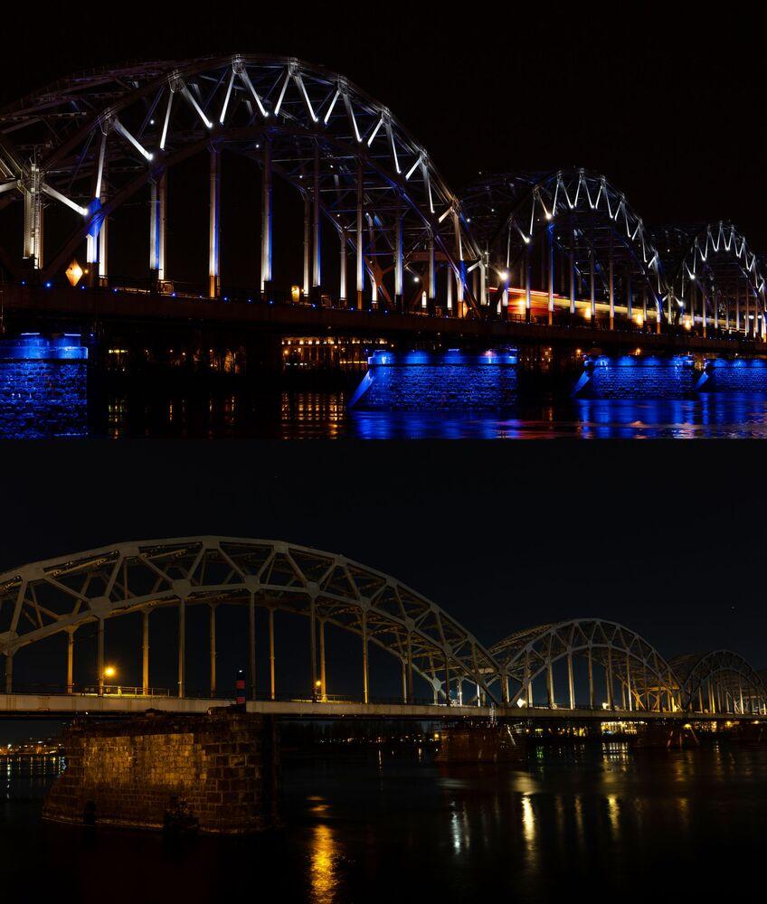 Most kolejowy przez Dźwinę w Rydze przed i po wyłączeniu oświetlenia w ramach akcji ekologicznej Godzina dla Ziemi.