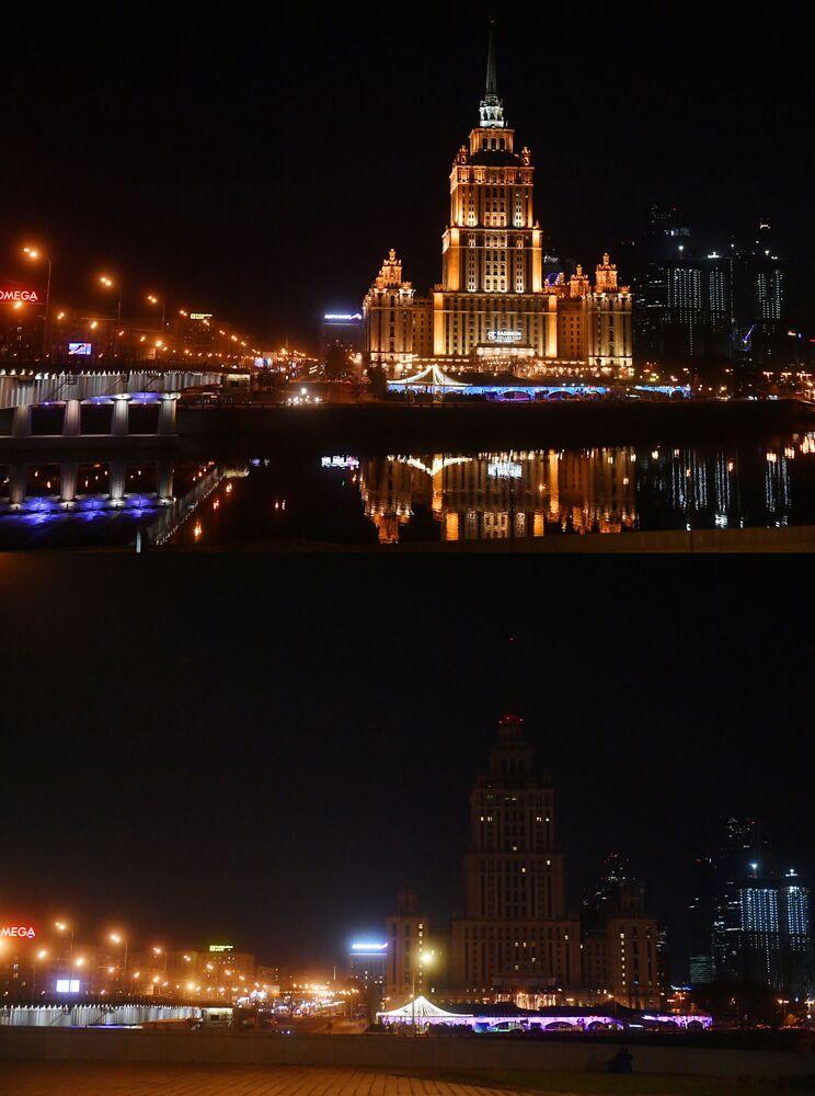 Hotel Ukraina przed i po wyłączeniu oświetlenia w ramach akcji ekologicznej Godzina dla Ziemi.