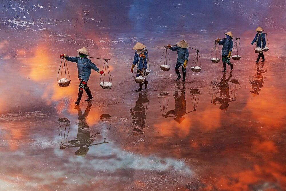 """""""Sunset on the salt field of Ninh Diem Khanh Hoa Vietnam"""", Wietnam"""