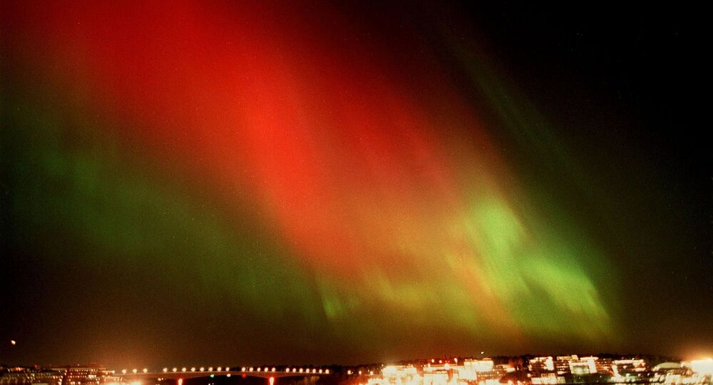 Zorza polarna na niebie nad Sztokholmem