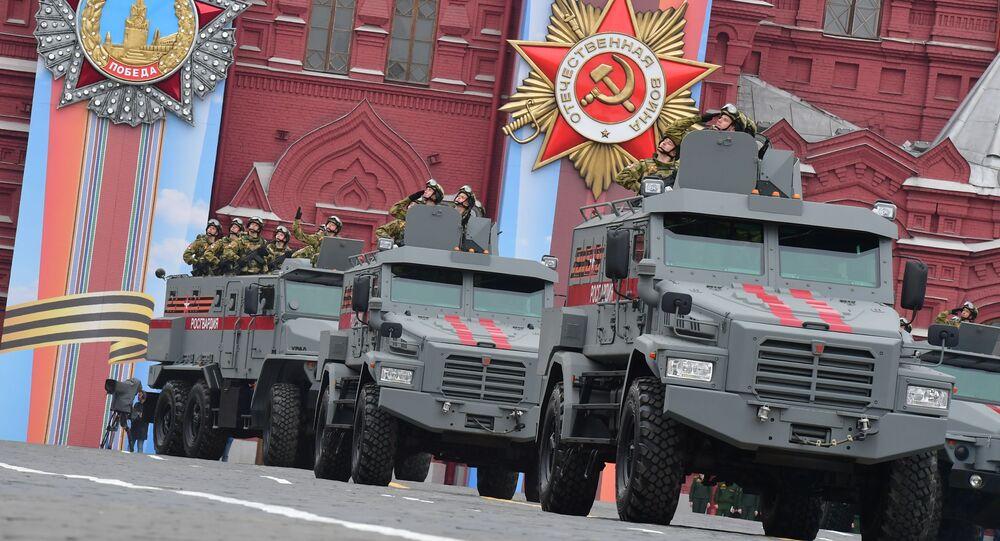 """Pojazdy opancerzone """"Tajfun-K"""" 4x4 i """"Tajfun-U"""" na paradzie wojskowej poświęconej 74. rocznicy Zwycięstwa w Wielkiej Wojnie Ojczyźnianej"""