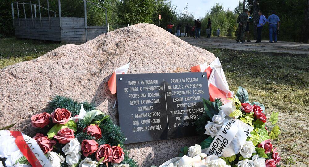 Obelisk na miejscu katastrofy smoleńskiej