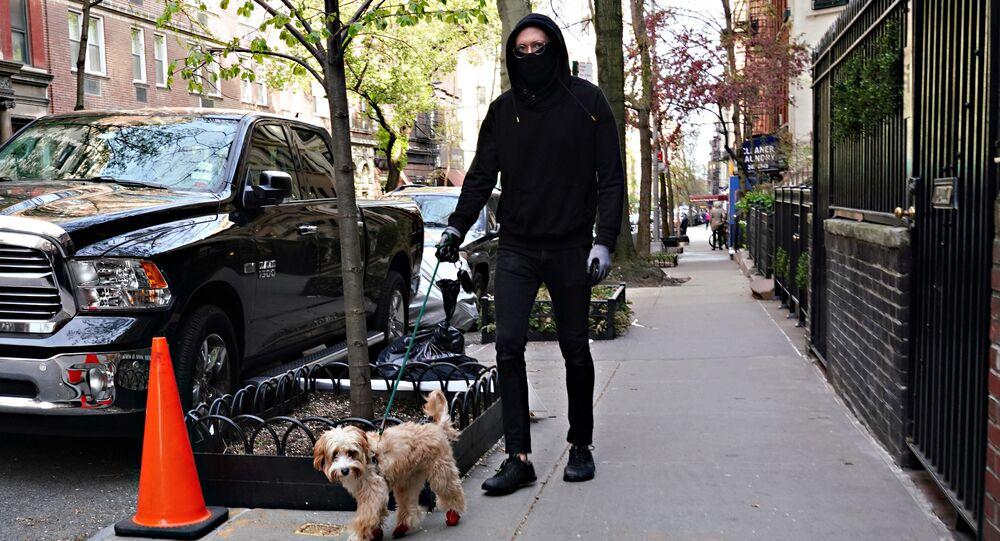 Mężczyznna w masce wyprowadza psa, Nowy Jork