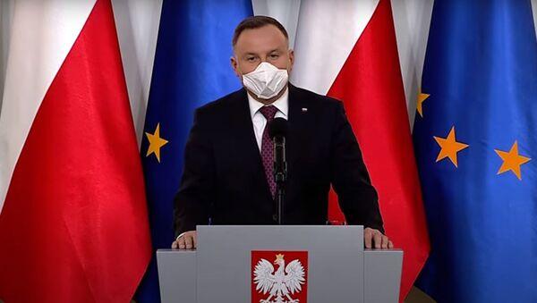 Andrzej Duda w masce ochronnej - Sputnik Polska
