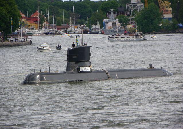 Szwedzki okręt podwodny Södermanland w Sztokholmie