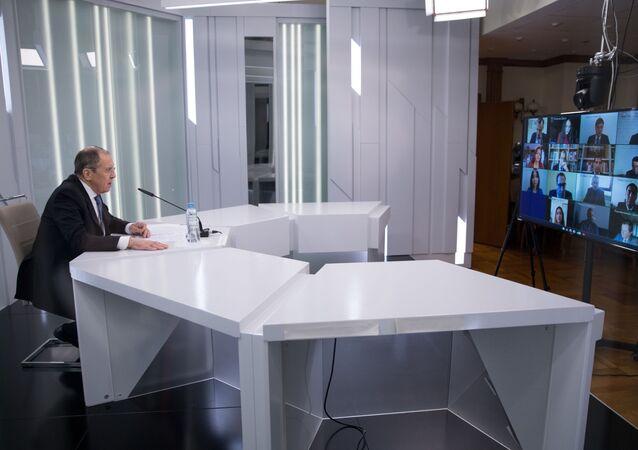 Wideokonferencja z udziałem ministra spraw zagranicznych Rosji Siergieja Ławrowa i przedstawicielami Fundacji im. Aleksandra Gorczakowa