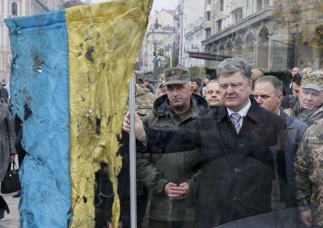 Prezydent Ukrainy Pietro Poroszenko na targach ukraińskiej techniki wojskowej w Kijowie