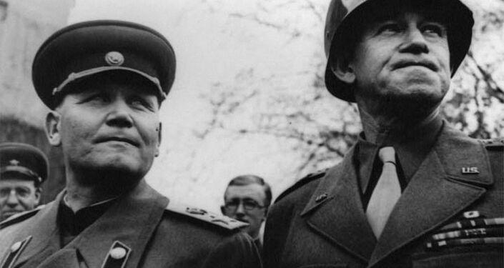 Iwan Koniew i dowódca amerykańskiej 12 Grupa Armii generał Omar Bradley