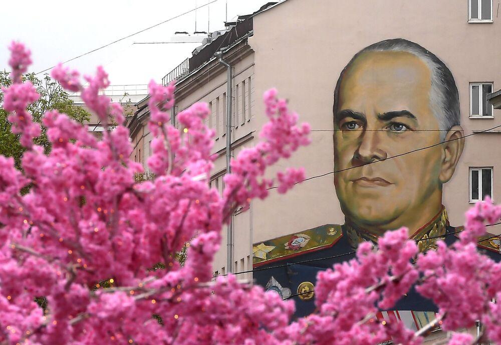 Graffiti przedstawiające radzieckiego dowódcę wojskowego Georgija Żukowa na ulicy Stary Arbat w Moskwie