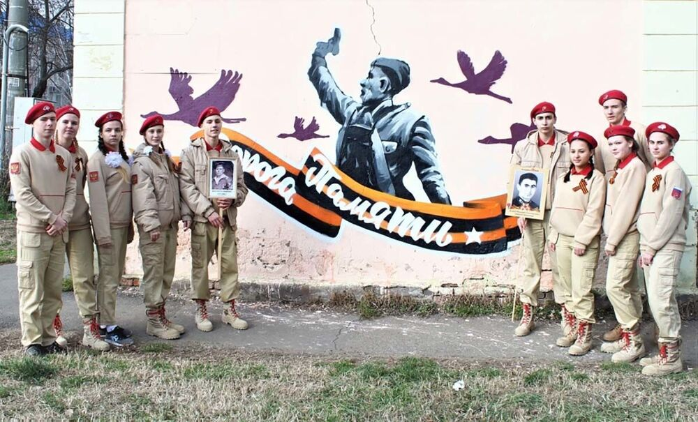 Kopia znanego zdjęcia z okresu Wielkiej Wojny Ojczyźnianej w Krasnodarze