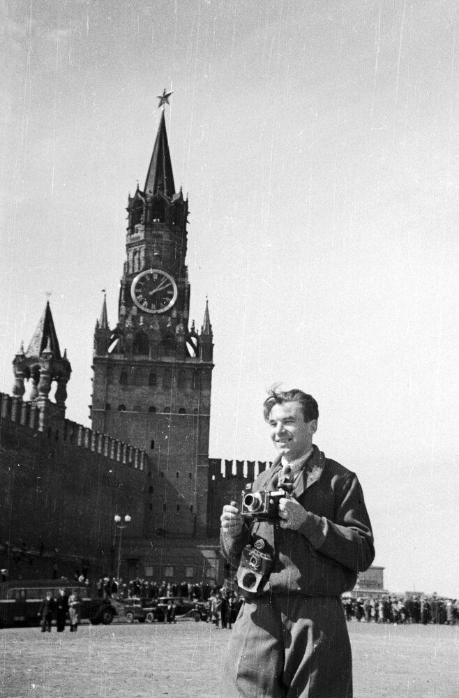 Korespondent Aleksandr Krasawin na Placu Czerwonym