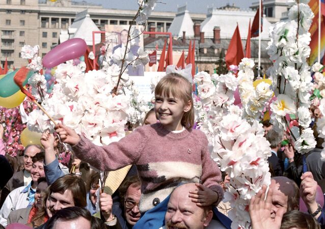 Uczestnicy demonstracji 1 maja w Moskwie, 1987 rok