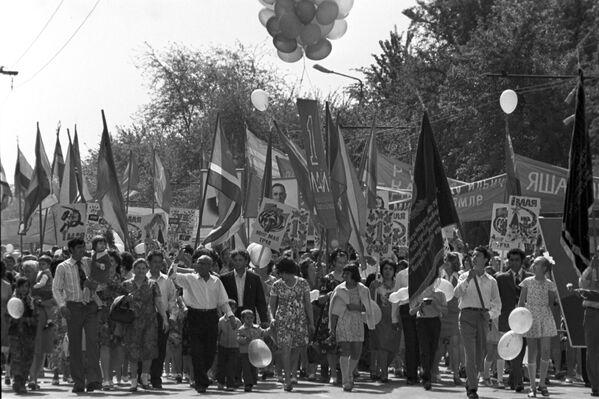 Первомайская демонстрация в Ашхабаде, 1976 год - Sputnik Polska