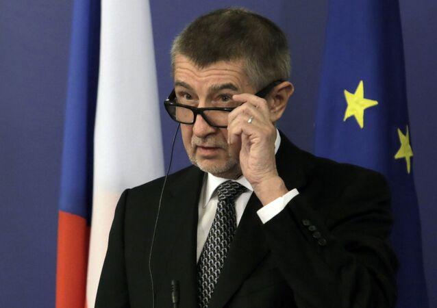 Premier Czech Andrej Babiš na konferencji prasowej w Bułgarii
