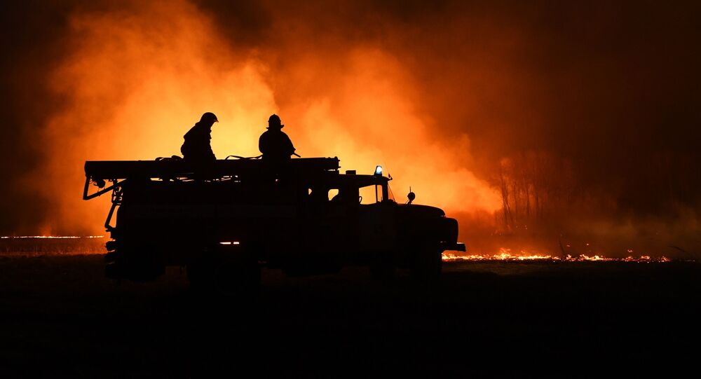 Strażacy gaszą pożar w obwodzie nowosybirskim