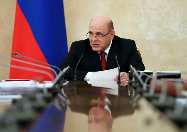 Premier Federacji Rosyjskiej Michaił Miszustin na posiedzeniu Rady Koordynacyjnej ds. walki z koronawirusem