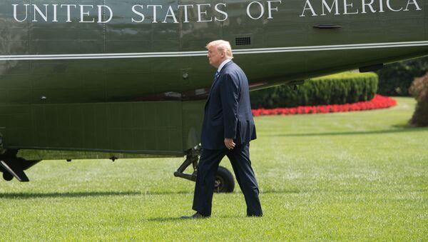 Prezydent USA Donald Trump na tle helikoptera, który ma go dostarczyć do podmiejskiej rezydencji w Camp David - Sputnik Polska