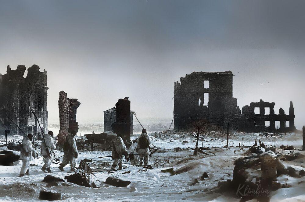 Centrum Stalingradu po wyzwoleniu od nazistowskich najeźdźców