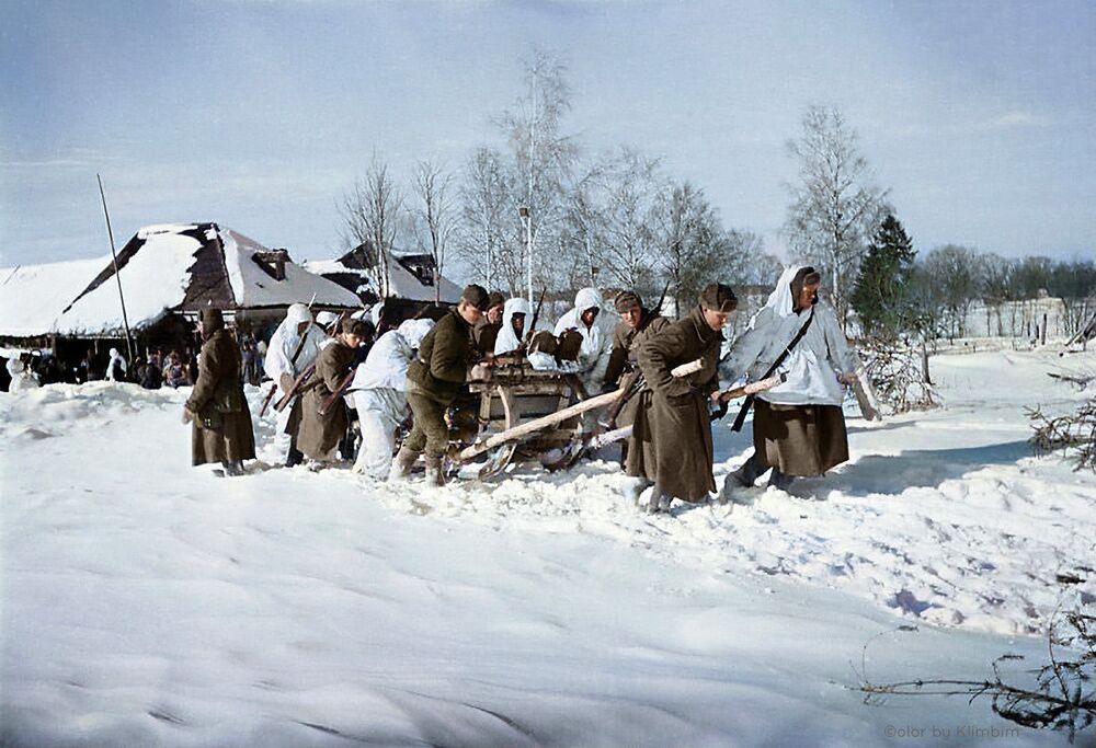 Żołnierze zaprzężeni w sanie, zabierają rannych do punktu pierwszej pomocy, 1942 rok