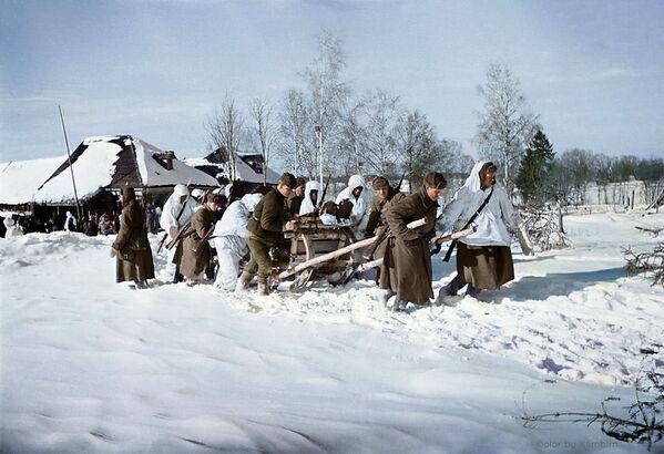 Żołnierze zaprzężeni w sanie, zabierają rannych do punktu pierwszej pomocy, 1942 rok - Sputnik Polska