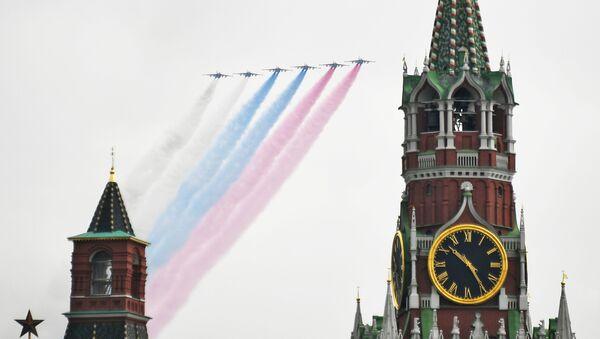 Su-25 na próbie powietrznej części Parady Zwycięstwa w Moskwie - Sputnik Polska