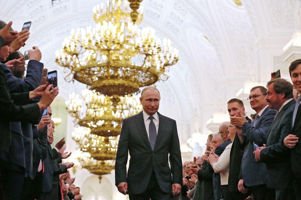 Prezydent FR Władimir Putin podczas ceremonii inauguracji w 2018 roku