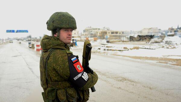 Rosyjska policja wojskowa w wyzwolonym syryjskim mieście Maarat al-Numan - Sputnik Polska