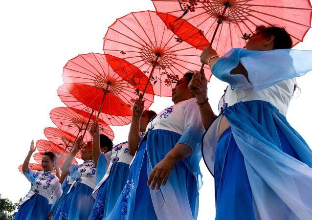 Uczestnicy Międzynarodowego Festiwalu Przyjaźni Narodów Rosji i Chin w Kraju Chabarowskim