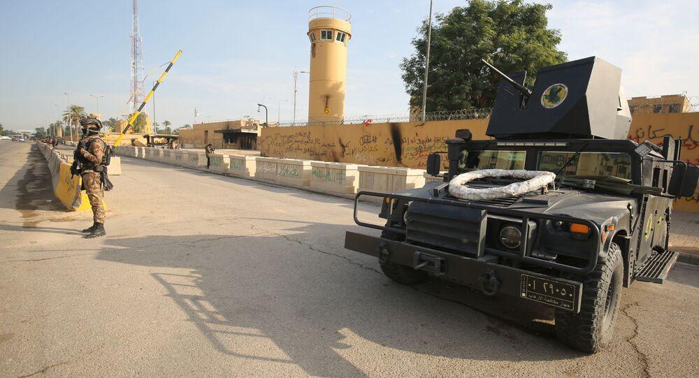 Irackie siły antyterrorystyczne przy ambasadzie USA w Bagdadzie