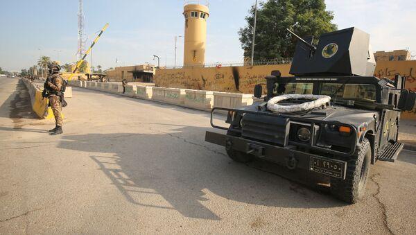 Irackie siły antyterrorystyczne przy ambasadzie USA w Bagdadzie - Sputnik Polska