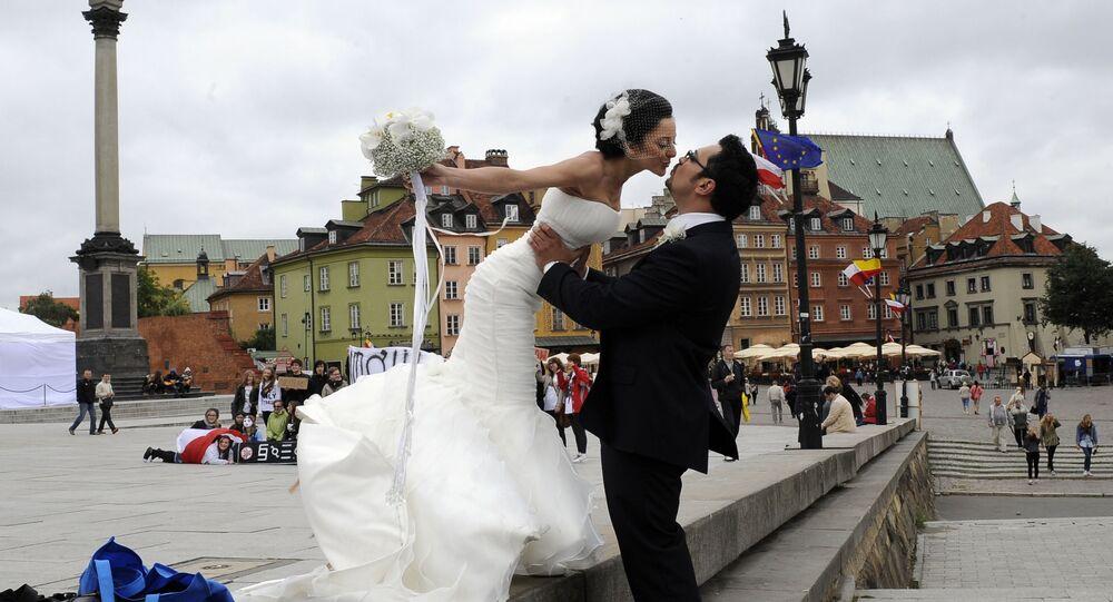 Nowożeńcy w Warszawie