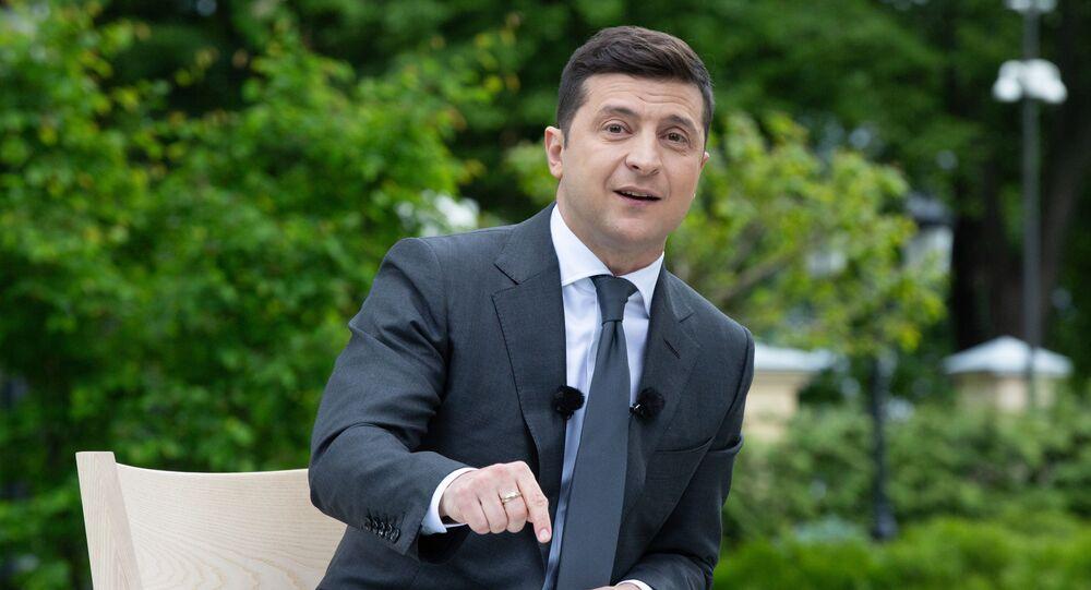 Prezydent Ukrainy Wołodymyr Zełenski w czasie konferencji prasowej poświęconej pierwszej rocznicy urzędowania na stanowisku prezydenta