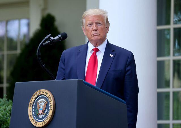 Prezydent USA Donald Trump podczas przemówienia w Białym Domu